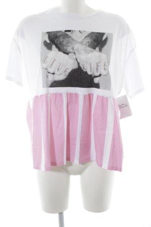 Zara Trafaluc T-Shirt weiß-rosa Motivdruck Street-Fashion-Look