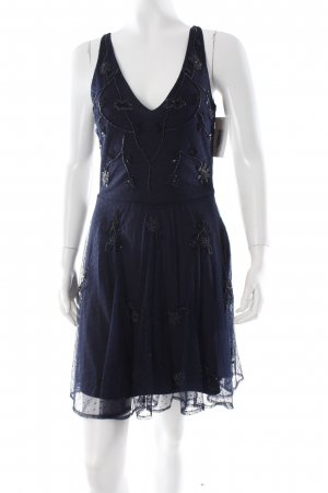 Zara Trafaluc Trägerkleid dunkelblau Punktemuster Netz-Optik