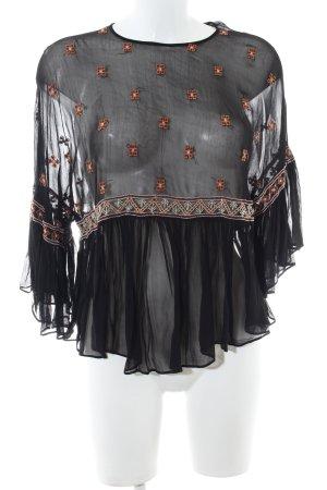 Zara Trafaluc Transparenz-Bluse schwarz-hellorange grafisches Muster Elegant