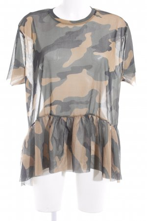 Zara Trafaluc Transparenz-Bluse Camouflagemuster Casual-Look