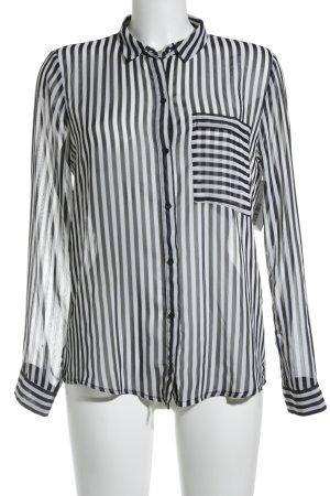 Zara Trafaluc Transparenz-Bluse weiß-schwarz Streifenmuster