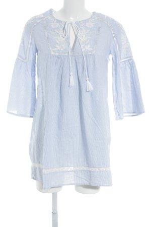 Zara Trafaluc Tunikabluse himmelblau-weiß Streifenmuster Kordelverzierung