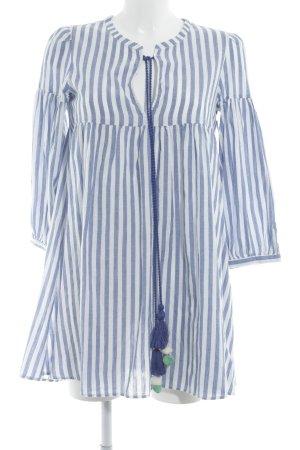 Zara Trafaluc Tunic Dress white-azure striped pattern beach look