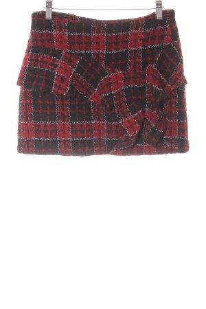 Zara Trafaluc Gonna tweed nero-rosso scuro motivo a quadri stile casual