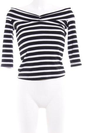 Zara Trafaluc Maglia con scollo a V nero-bianco motivo a righe stile casual
