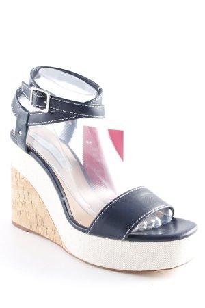 Zara Trafaluc Wedges Sandaletten weiß-blau Beach-Look