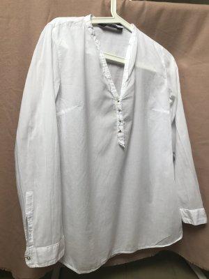 ZARA Trafaluc Weiße Cotton Bluse Größe S