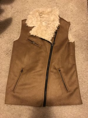 Zara Trafaluc Vest van imitatiebont bruin-wolwit