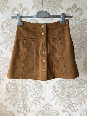 Zara Falda de cuero marrón-marrón claro