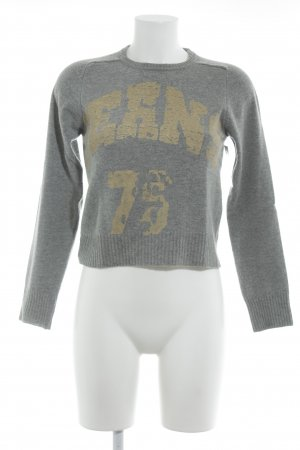 Zara Trafaluc Wool Sweater grey-gold-colored printed lettering casual look