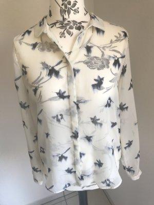 Zara - transparente Bluse weiß mit blauen Vögeln Gr L