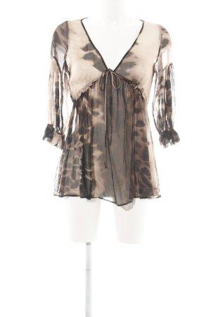 Zara Transparenz-Bluse creme-braun Allover-Druck Elegant