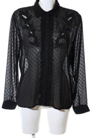 Zara Transparenz-Bluse schwarz Allover-Druck Elegant