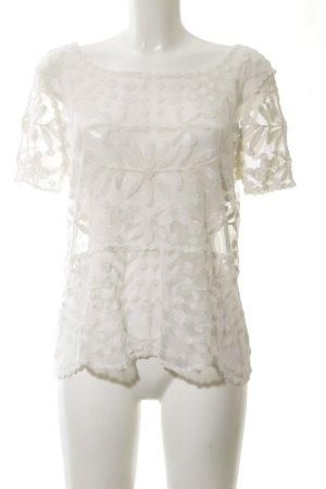 Zara Transparenz-Bluse wollweiß Blumenmuster Casual-Look