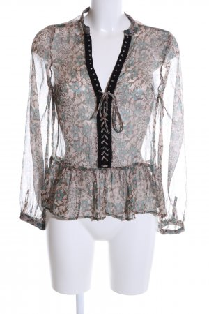 Zara Transparenz-Bluse Allover-Druck Casual-Look