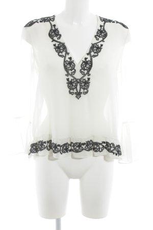 Zara Transparenz-Bluse creme-schwarz Casual-Look
