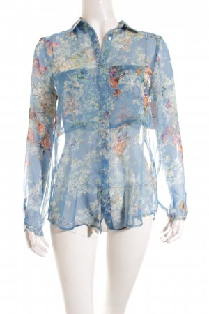 Zara Transparenz-Bluse florales Muster Casual-Look