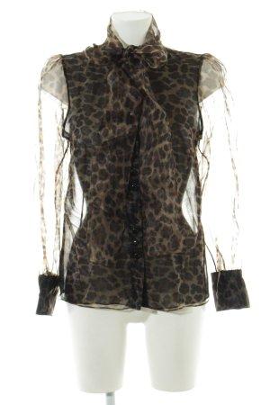 Zara Transparenz-Bluse graubraun-schwarz Animalmuster Casual-Look