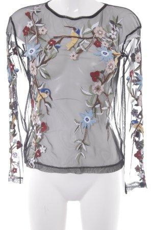 Zara Transparenz-Bluse schwarz Blumenmuster Elegant