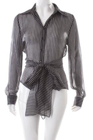 Zara Transparenz-Bluse schwarz-weiß Streifenmuster klassischer Stil