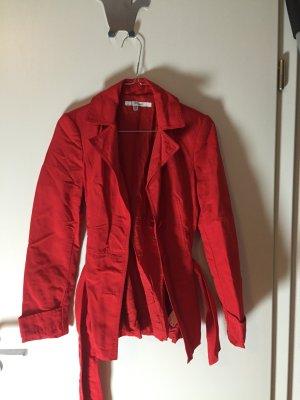 Zara Basic Trenchcoat rood Gemengd weefsel