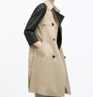 Zara Trenchcoat Mantel Kunstleder Beige S 36 38 40