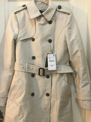 Zara Trenchcoat zweireihig Mantel Jacke Sandfarben