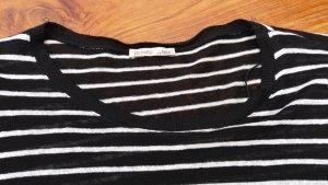 Zara Top à manches longues blanc-noir coton