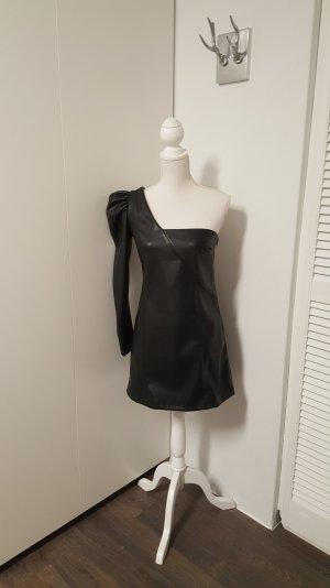 Zara TRF asymmetrisches Kleid M Lederoptik schwarz Puffärmel
