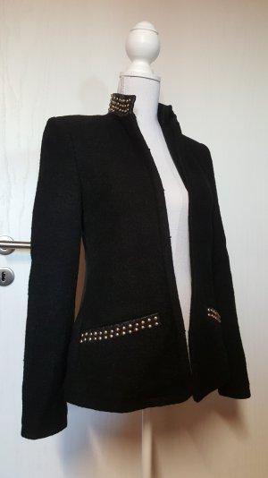 Zara TRF Blazer S Wolle mit Nieten schwarz Lederoptik