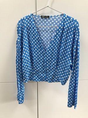 ZARA trf Bluse Top mit Tupfenmuster Punkten Polka Dot Print Blau Weiß Gr. 36 / S - NEU!