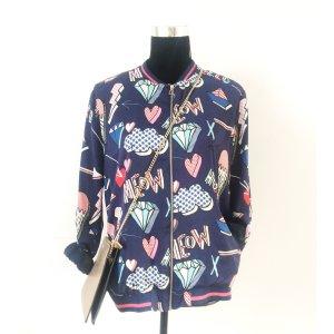 Zara Trf Bomber Jacke Blouson M L 38 40 Blogger Style Bunt blau Muster wie NEU