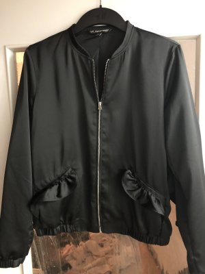 Zara Trf Bomberjacke Collegejacke Volants Blouson Gr. 36 Satin Black