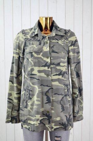 ZARA TRF Damen Bluse Hemd Oberteil Camouflage Grüntöne Glitzersteine Gr.XS