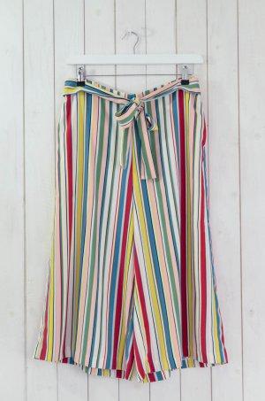 ZARA TRF Damen Hose 7/8 Weites Bein Bunt Gestreift Polyester Elastan Gr.XL