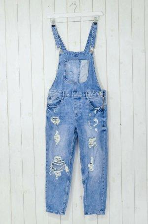 ZARA TRF Damen Latzjeans Latzhose Jeans Blau Used Style Baumwolle Gr.M