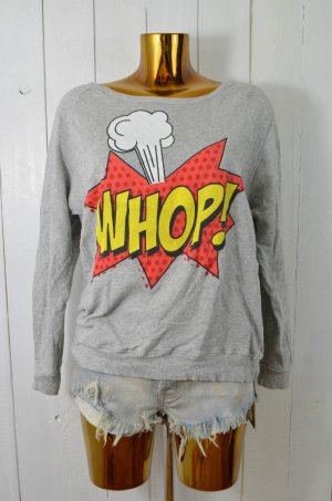 ZARA TRF Damen Sweatshirt Pullover Sweater Baumwolle Beflockt Print Comic Gr.M
