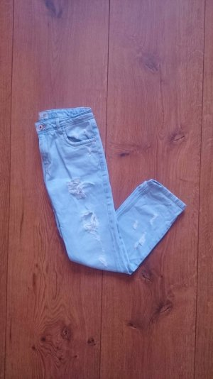 Zara TRF Destroyed Ripped Denim Jeans blau 34 XS
