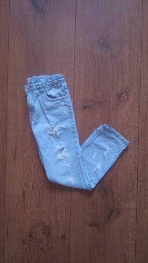 Zara TRF Destroyed Ripped Denim Jeans blau 34 XS