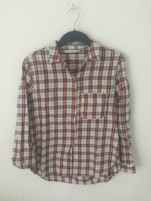 Zara Trafaluc Camicia da boscaiolo crema-rosso