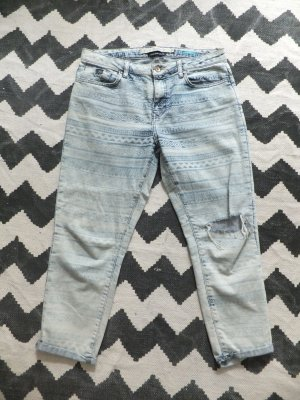 Zara TRF Jeans 38 bleached Baggy moonwashed Aztec gemustert destroyed