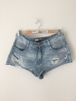 Zara Trf Jeans Shorts Destroyed Blau