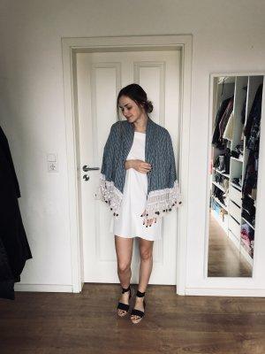 Zara TRF Kimono Jacke Cardigan Hippie Quasten Blau S 36