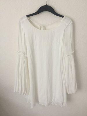 Zara Trf Kleid mit Ballonärmeln weiß