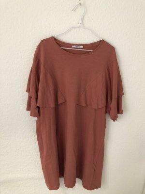 Zara Trf Kleid mit Volants Altrosa