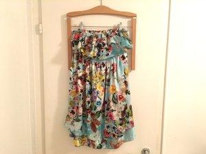 Zara TRF Kleid S / 36 Sommerkleid Blumen Print Trägerlos Bandeau mini wie neu