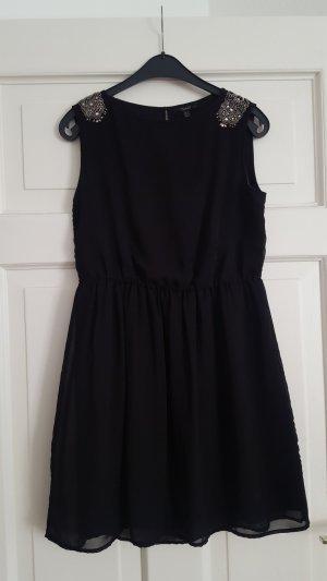 Zara Robe de cocktail noir-argenté polyester