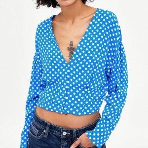 ZARA trf Kollektion Bluse Top Cropped mit Punkten Polka Dot Print Blau Weiß Gr. 36 / S - NEU!