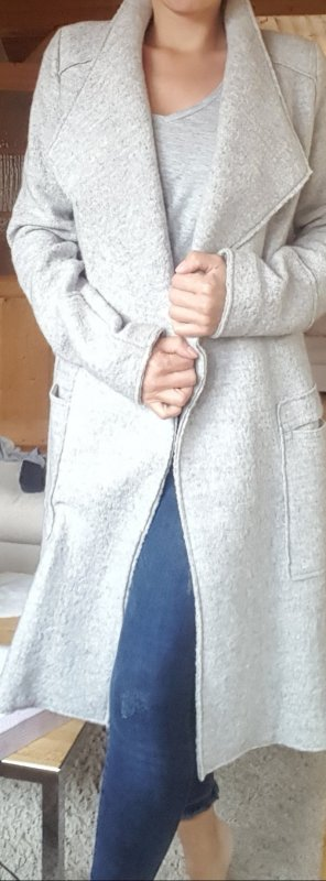 Zara TRF Open Blogger Mantel Gr. S grau Wolle Neuwertig
