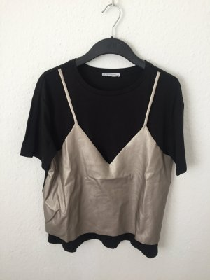 Zara Trafaluc T-shirt zwart-lichtbruin